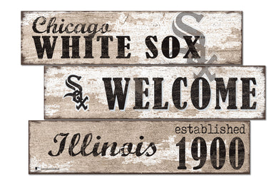Chicago White Sox Welcome 3 Plank Wood Sign