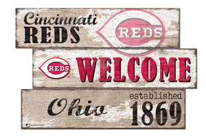 Cincinnati Reds Welcome 3 Plank Wood Sign