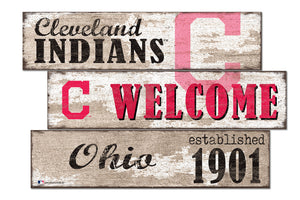 Cleveland Indians Welcome 3 Plank Wood Sign