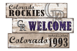 Colorado Rockies Welcome 3 Plank Wood Sign