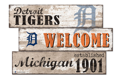 Detroit Tigers Welcome 3 Plank Wood Sign