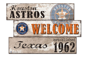 Houston Astros Welcome 3 Plank Wood Sign
