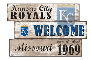 Kansas City Royals Welcome 3 Plank Wood Sign