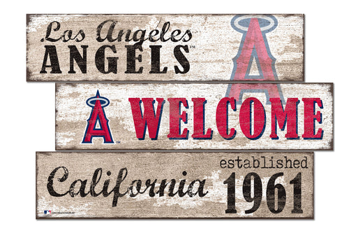 Los Angeles Angels Welcome 3 Plank Wood Sign