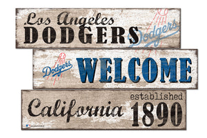 Los Angeles Dodgers Welcome 3 Plank Wood Sign