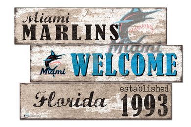 Miami Marlins Welcome 3 Plank Wood Sign