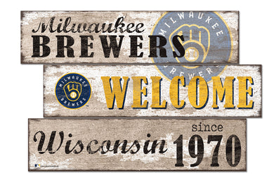 Milwaukee Brewers Welcome 3 Plank Wood Sign