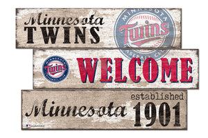 Minnesota Twins Welcome 3 Plank Wood Sign