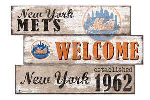 New York Mets Welcome 3 Plank Wood Sign