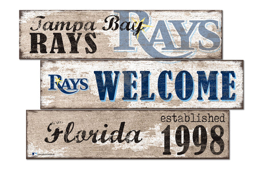 Tampa Bay Rays Welcome 3 Plank Wood Sign
