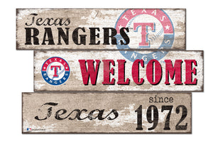 Texas Rangers Welcome 3 Plank Wood Sign