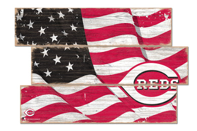 Cincinnati Reds Flag Plank Wood Sign