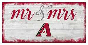 "Arizona Diamondbacks Mr. & Mrs. Script Wood Sign - 6""x12"""
