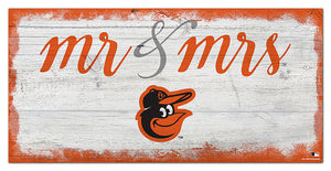 "Baltimore Orioles Mr. & Mrs. Script Wood Sign - 6""x12"""