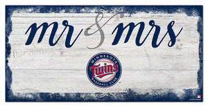 "Minnesota Twins Mr. & Mrs. Script Wood Sign - 6""x12"""