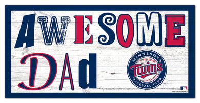 Minnesota Twins Awesome Dad Wood Sign - 6