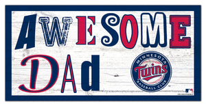 "Minnesota Twins Awesome Dad Wood Sign - 6""x12"""