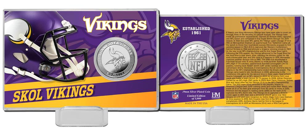 Minnesota Vikings Team History Silver Coin Card