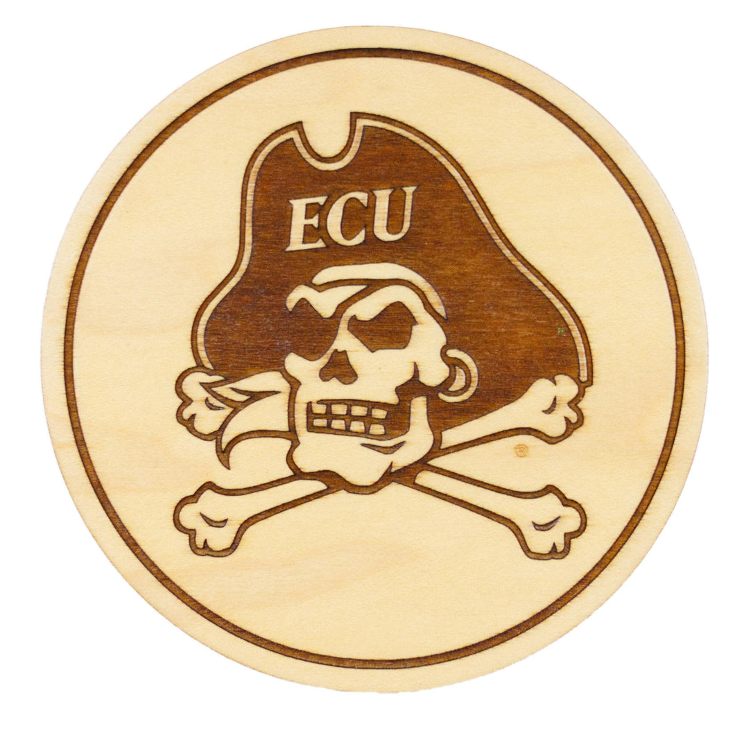 ECU Pirates Maple Coaster Set - Skull and Crossbones