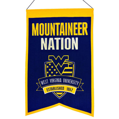West Virginia Mountaineers Wool Mountaineer Nation Banner - 14