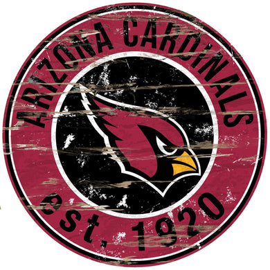 Arizona Cardinals Distressed Round Sign - 24