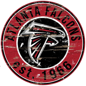 Atlanta Falcons Distressed Round Sign - 24""