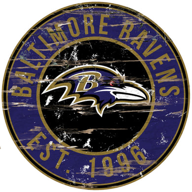 Baltimore Ravens Distressed Round Sign - 24