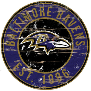Baltimore Ravens Distressed Round Sign - 24""