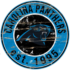 Carolina Panthers Distressed Round Sign - 24""