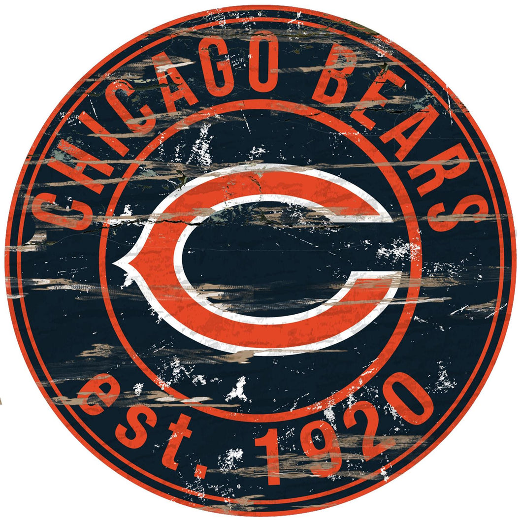 Chicago Bears Distressed Round Sign - 24