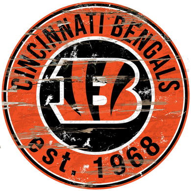 Cincinnati Bengals Distressed Round Sign - 24