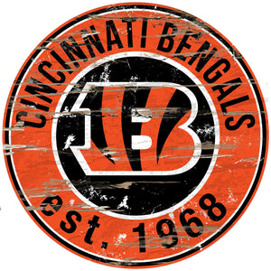Cincinnati Bengals Distressed Round Sign - 24""