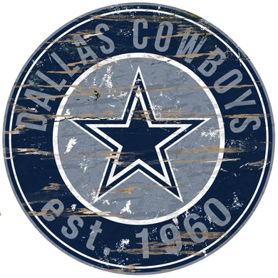 Dallas Cowboys Distressed Round Sign - 24