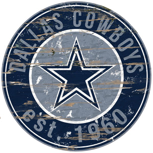 Dallas Cowboys Distressed Round Sign - 24""