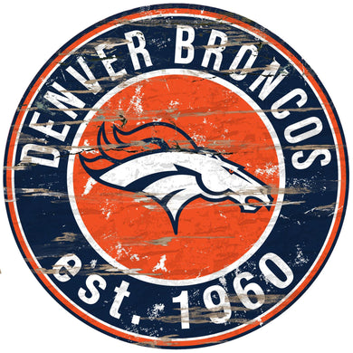 Denver Broncos Distressed Round Sign - 24