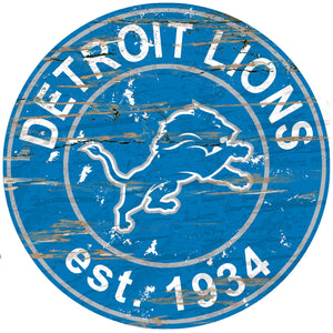 Detroit Lions Distressed Round Sign - 24""