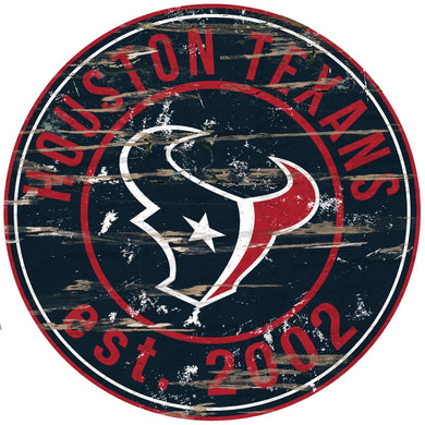 Houston Texans Distressed Round Sign - 24