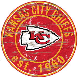 Kansas City Chiefs Distressed Round Sign - 24""