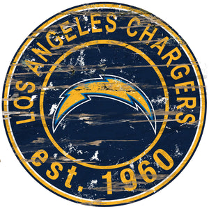 Los Angeles Chargers Distressed Round Sign - 24""