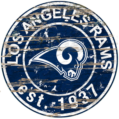 Los Angeles Rams Distressed Round Sign - 24