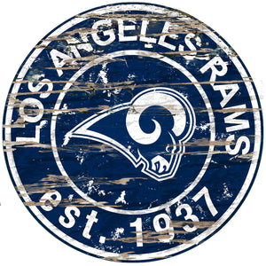 Los Angeles Rams Distressed Round Sign - 24""