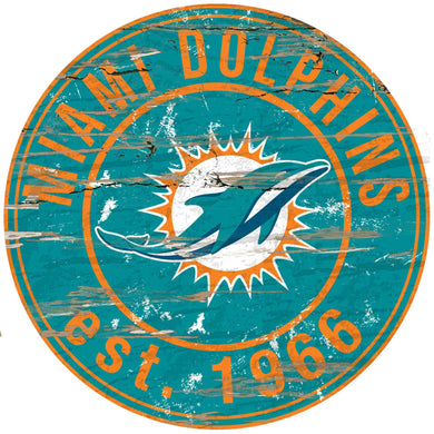 Miami Dolphins Distressed Round Sign - 24