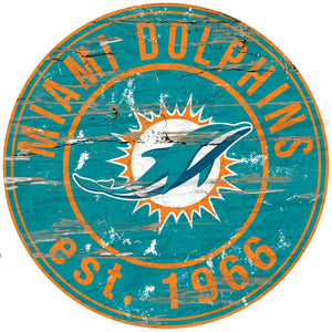 Miami Dolphins Distressed Round Sign - 24""
