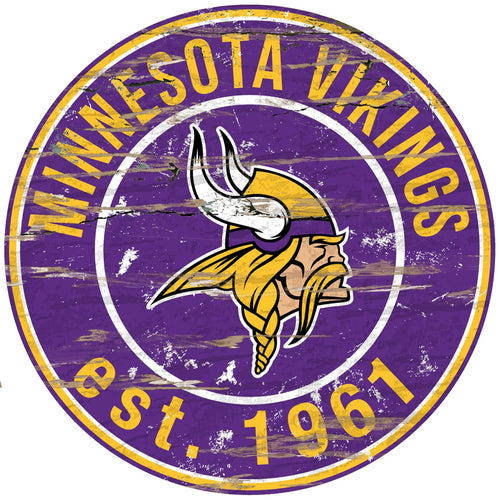 Minnesota Vikings Distressed Round Sign - 24
