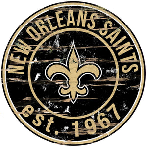 New Orleans Saints Distressed Round Sign - 24""