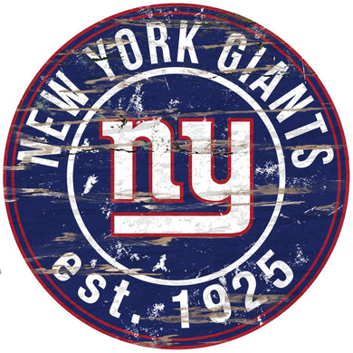 New York Giants Distressed Round Sign - 24