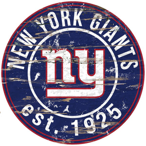New York Giants Distressed Round Sign - 24""