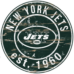 New York Jets Distressed Round Sign - 24""