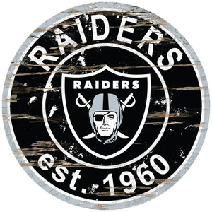 Oakland Raiders Distressed Round Sign - 24""