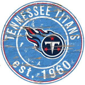 Tennessee Titans Distressed Round Sign - 24""